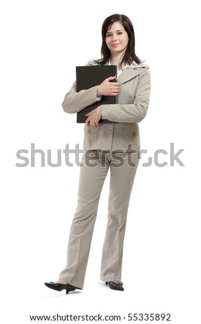 young brunette businesswoman with a map