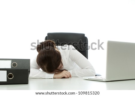 young brunette businesswoman with glasses fall asleep