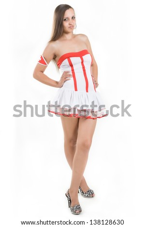 young brunette dressed as a nurse