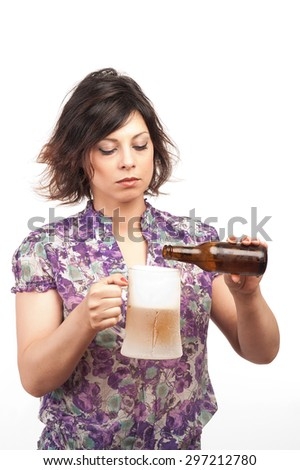 young brunette girl with a mug of beer