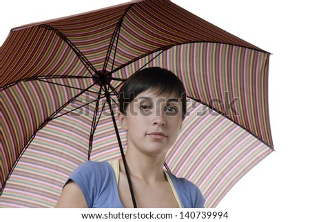 young brunette girl with a umbrella, isolated - stock photo