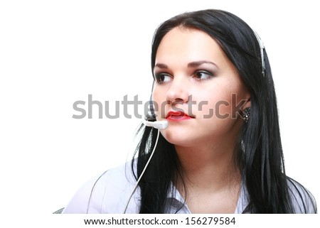 young brunette girl with headphones isolated - stock photo