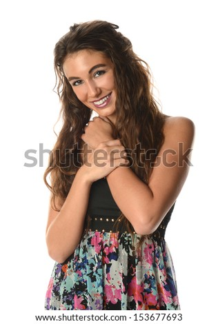 Young Brunette portrait smiling isolated on a white background