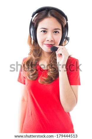Young  brunette woman and headphones
