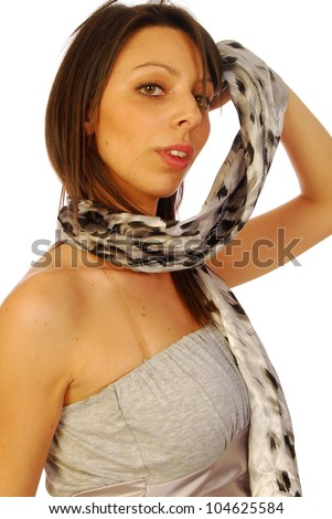 Young brunette woman in elegant gray suit 119 - stock photo