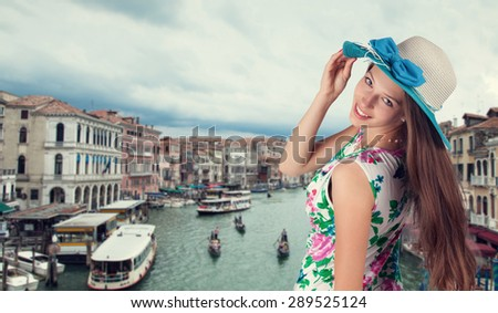 Young brunette woman in Venice, Italy. Free space for text - stock photo