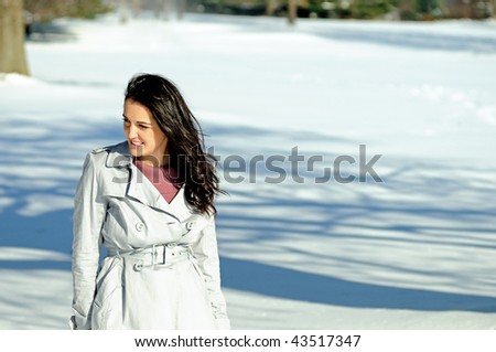 Young brunette woman standing in snowy field - stock photo
