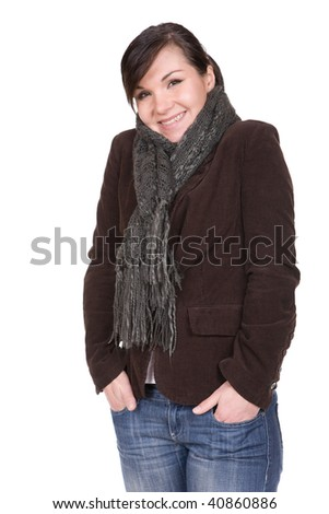 young brunette woman wearing winter clothes. over white background