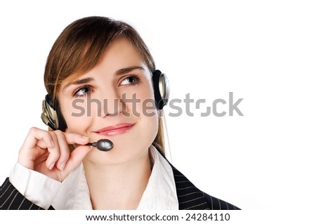 young brunette woman with headset close up