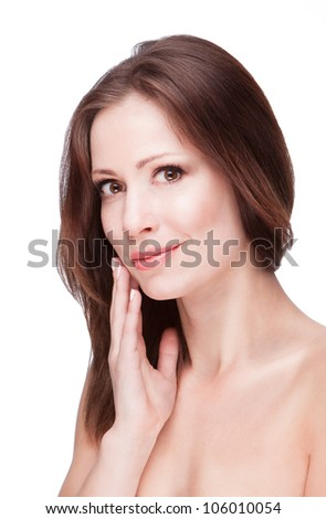 Young brunette woman with healthy beautiful skin on white background/cosmetics for face skin. beautiful skin. Fresh skin care. - stock photo