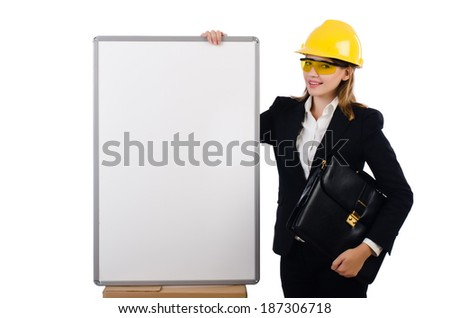Young builder woman  with  blank board and portfolio  isolated on white