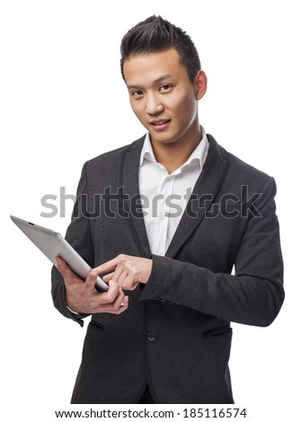 young business asian man using his tablet