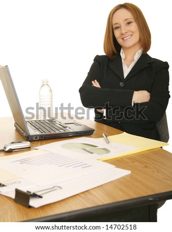 young business caucasian woman sitting down and smiling - stock photo