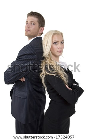 young business couple on isolated  background