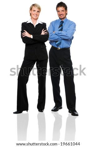 young business couple standing on white background - stock photo
