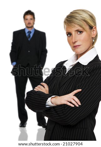 young business couple standing on white background