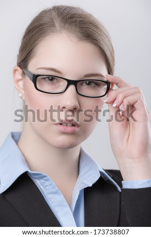 young business girl with glasses