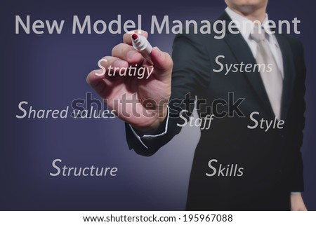 Young business hand with pen mark administrative theory  - stock photo