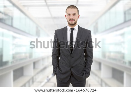 young business happy man at the office - stock photo
