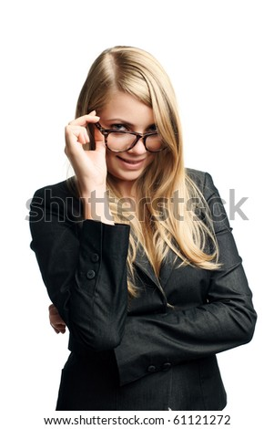 young business lady in glasses - stock photo