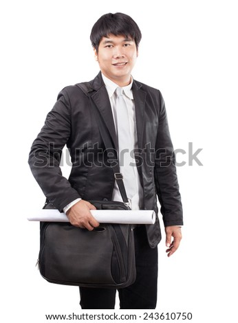 young business man and computer laptop suit bag and handle paper working plan wearing western suit standing and smiling to camera isolated white background - stock photo