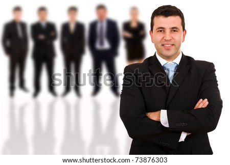 Young business man and his team. Isolated over white background - stock photo