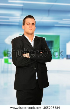 YOung Business man at the business center - stock photo