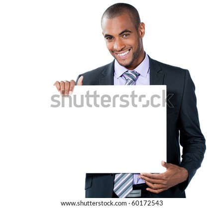 young business man behind an white add space