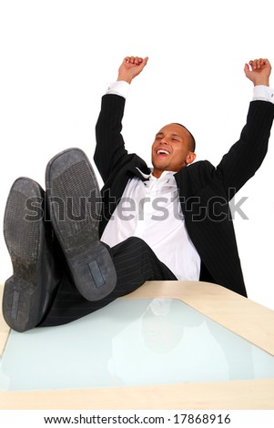 Young Business Man Celebrating - stock photo