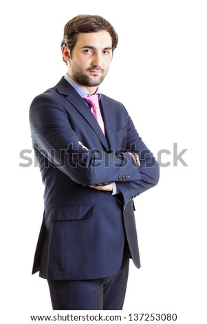 Young business man disappointed, white background - stock photo