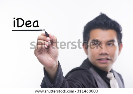Young business man draws a word idea - stock photo