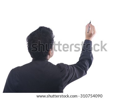 Young business man draws blank diagram on a white background - stock photo