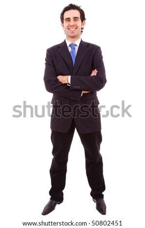 young business man full body in a white background