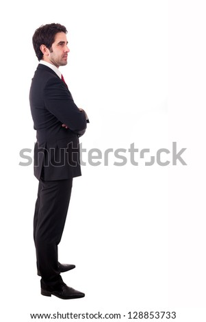 Young business man full body standind isolated on white background
