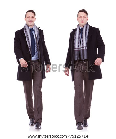young business man full body walking on white  background . businessman in autumn or spring clothes walking. two images of a walking business man: one when is smiling ang one when is serious - stock photo