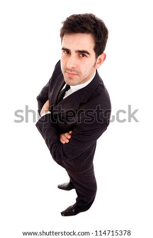 Young business man full lenght isolated on white background - stock photo