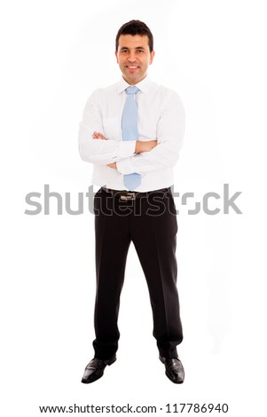 Young business man full length isolated on white background - stock photo