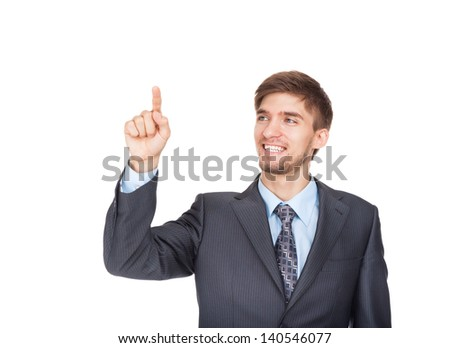 young business man happy smile point finger empty copy space, businessman showing side, concept advertisement product push touch screen, pressing digital virtual button isolated over white background