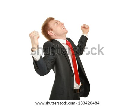 young business man hold fist, portrait of businessman with arms wide open hands up - stock photo