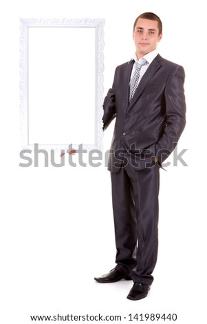 young business man holding empty advert sign isolated