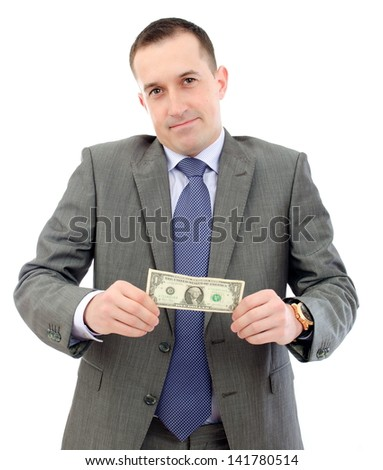 Young business man holdong 1 dollar - stock photo