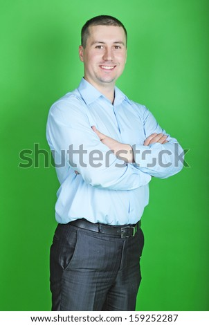 young business man in a blue shirt
