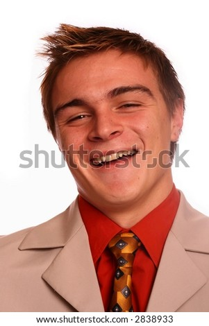 Young business man laughing