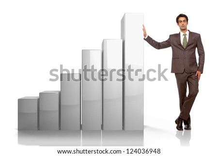 young business man leaning on bar graph - stock photo