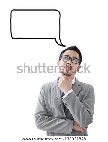 Young business man looking up graphic sketch style thoughts overhead - stock photo
