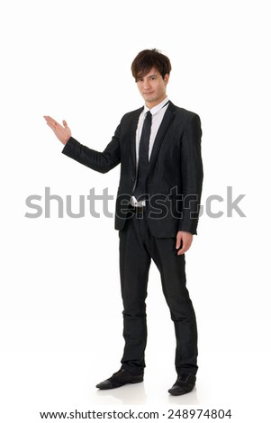 Young business man of Asian, full length portrait on white background. - stock photo