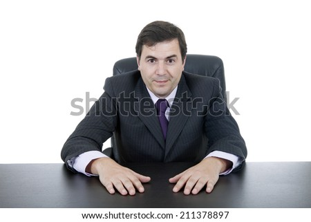 young business man on a desk, isolated on white
