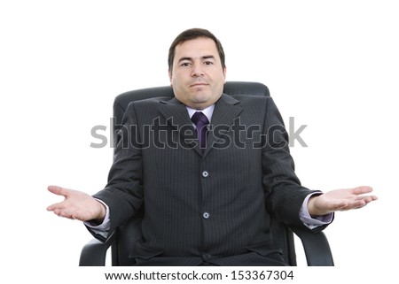 young business man on a office chair, isolated