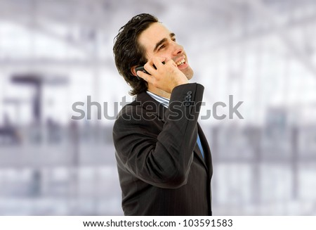 young business man on the phone at the office