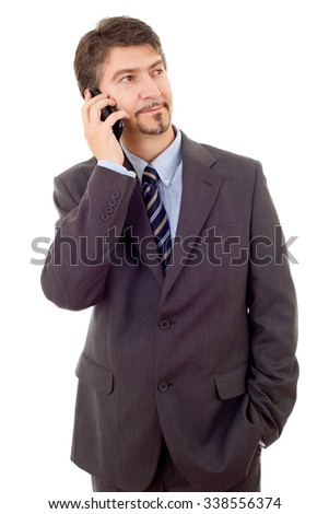 young business man on the phone, isolated